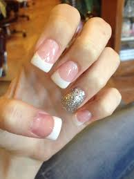 acrylic nails french tip glitter pink and white my nails
