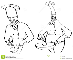 sketch of chefs cooking royalty free stock photography image