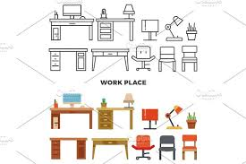 work place furniture and collection flat home design icons