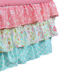 gia floral coral aqua 4 in 1 baby crib bedding set by the