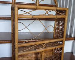 Rattan Bookcase Tabletop Bookshelf Etsy
