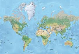 American Samoa Map Vector Map Of World Relief Mercator Graphics Creative Market