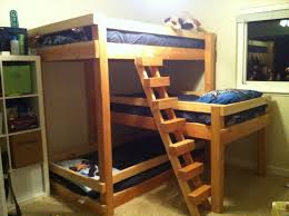bunk bed light brown wooden bunk bed for kids with stairs and pull