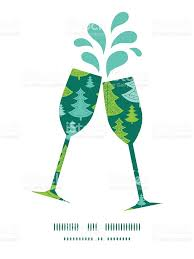 vector holiday christmas trees toasting wine glasses silhouettes