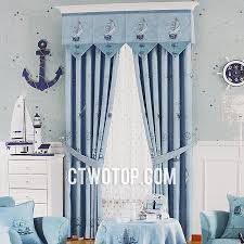 Light Blue Curtains Blackout Kids Room Boat Simple Blackout Dreamy Cheap Baby Blue Nautical