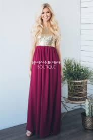 raspberry gold sequin maxi dress beautiful modest bridesmaids