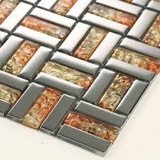 Crystal Mosaic Tile Sheets Silver Plated Glass Bathroom Wall Tiles - Tile sheets for kitchen backsplash