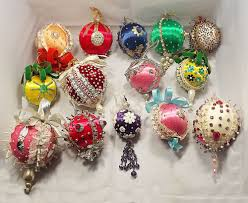 vintage silk and bead handmade christmas ornaments lot of 25