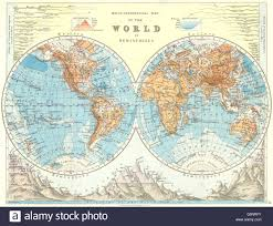World Map Rivers by World Twin Hemispheres Relief Mountains Rivers Johnston 1899