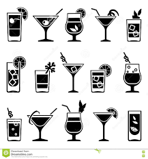 cocktail clipart black and white cocktails and drinks vector black icons stock vector image 71603779