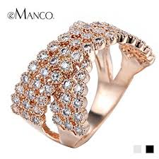 women big rings images Slyq jewelry double layer crystal rose gold big rings jpg