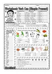 worksheet verb can explanation and exercise