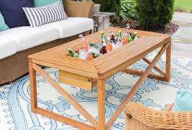 Patio Cooler Table Outdoor Coffee Table With Beverage Cooler Shades Of Blue Interiors