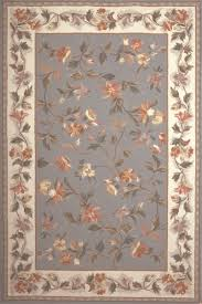 Lighthouse Rugs Colonial 1728 Slate Blue Ivory Floral Area Rug By Kas Oriental Rugs