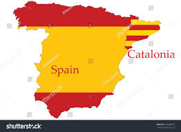 The Flag In Spanish Catalonia Separation Spain Concept Map Flag Stock Illustration