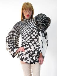 houndstooth blouse mcqueen runway black white bird houndstooth blouse