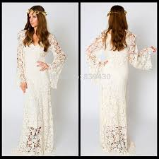 hippie boho wedding dresses 2015 vintage bohemian wedding dress bell sleeve lace ivory or