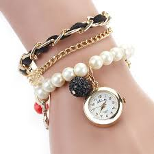 ladies pearl bracelet watches images Camille pearl anchor bracelet watch combo black blingdazzlepop jpg