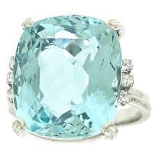 aquamarine engagement rings 1960s h stern 12 5 carat aquamarine diamond gold ring at 1stdibs