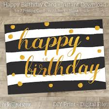 sale happy birthday card printable trendy black white u0026