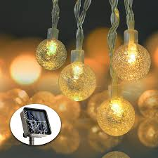 Solar Powered Patio Lights String by Solar String Lights 19 7ft 30 Led Waterproof Crystal Ball Solar