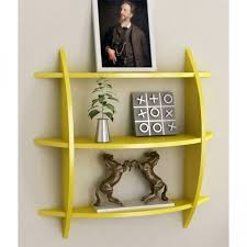 Home Decoratives Online Onlineshoppee Beautiful Yellow 3 Tier Wooden Wall Shelves Rack