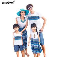 summer matching family clothes bohemia shirt dress