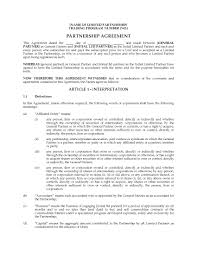 Letter Of Intent For Business Partnership Template by Alberta Limited Partnership Agreement For Buying U0026amp Selling