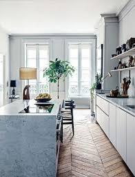 plante de cuisine déco chambre ilot de cuisine imitation de marbre blanc gris sol en