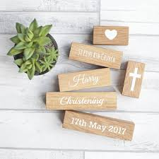 Gifts For The Home by Personalised Christening Oak Building Blocks By Perfect Pieces