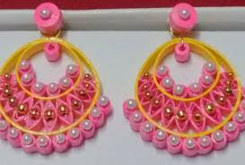 quiling earrings pink and yellow colour with white pearls handmade paper quilling