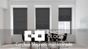 White Roman Shade Chicology Home Cordless Magnetic Roman Shade Youtube