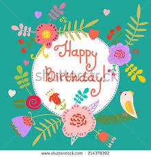 beautiful happy birthday greeting card flowers stock vector