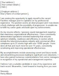 Resume Cover Letter Examples Management by Facilities Manager Covering Letter Sample