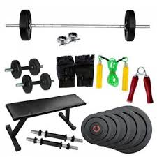 Buy Flat Bench Fitfly Home Gym Set 50kg Weight Flat Bench 5ft Plain Rod