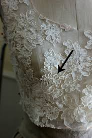 adding a lace overlay to a strapless wedding gown thread tracing