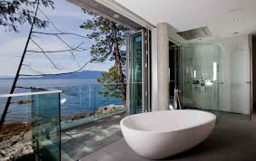 glass wall house bathroom views glass wall pender harbour house in pender
