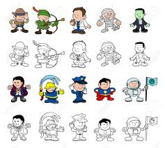 a set of cartoon people or children playing dress up color and