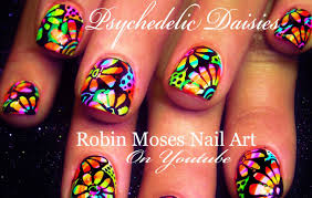 psychedelic neon daisy nails flower power hippie nail art design