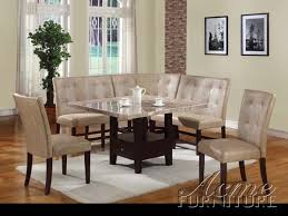 Corner Dining Chairs White Marble 6 Corner Dining Set By Acme 10280