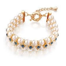beaded bracelet crystal images China wedding engagement gift crystal pearl jewelry dubai gold jpg