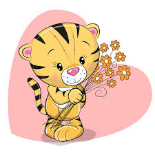 greeting card tiger with flowers stock vector illustration of