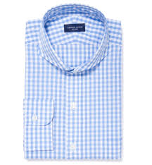 canclini 120s light blue gingham fitted dress shirt by proper cloth