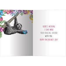 sloth valentines day card let s hang sloth s day cards 4pk tree free greetings