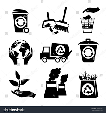 ecology waste black white icons set stock vector 202073476