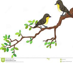two song birds cartoon on spring branch stock vector image 45750703