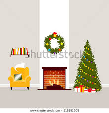 christmas vector interior living room fireplace stock vector