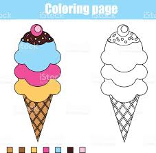 coloring page with ice cream educational children game printable