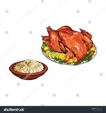 whole foods thanksgiving dinner menu whole roasted turkey bowl mashed potato stock vector 713060146
