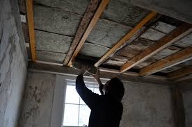 Soundproof Basement Ceiling by Over The Weekend We Installed Soundproofing Insulation Between The